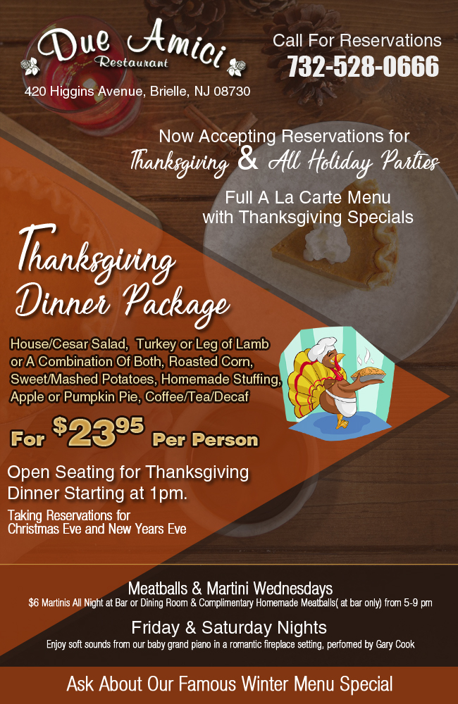 Due Amici NJ Thanksgiving Menu